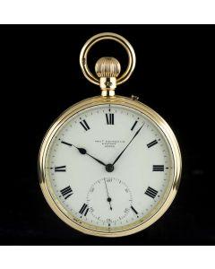 Charles Frodsham Open Face Pocket Watch 18k Yellow Gold Cream Enamel Roman Dial