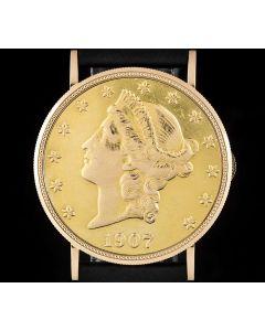 Eska Vintage 20 Dollar Coin 18k Yellow Gold Silver Dial