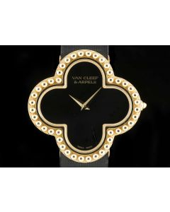 Van Cleef & Arpels Alhambra Mid-Size 18k Yellow Gold Onyx Dial