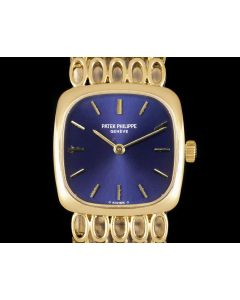 Patek Philippe Ellipse Vintage Women's 18k Yellow Gold Blue Dial 4179