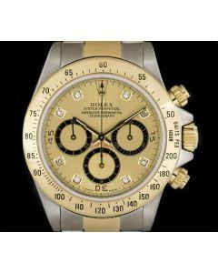 Rolex Zenith Movement Cosmograph Daytona Stainless Steel & 18k Yellow Gold Rare 4 Liner Diamond Dial B&P 16523