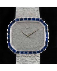 Piaget Unworn 18k White Gold Octagonal Case Baguette Sapphire Bezel NOS 97810A6