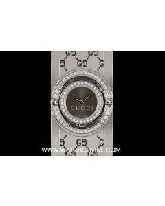 Gucci Stainless Steel Brown Dial Diamond Set Twirl Bangle Watch 112