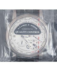 A.Lange & Sohne Sealed Lange 1 Time Zone Gents 18k White Gold Silver Dial B&P 116.039