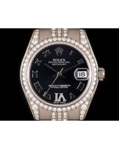 Rolex Datejust Mid-Size 18k White Gold Purple Dial Diamond Set 178159