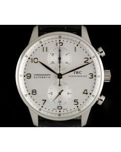 IWC Unworn Portuguese Chronograph Stainless Steel Silver Dial B&P IW371445