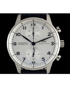 IWC Unworn Portuguese Chronograph Stainless Steel Silver Dial B&P IW371446