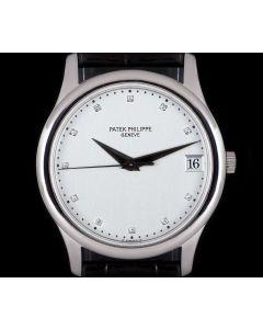 Patek Philippe Calatrava Men's Platinum Rare Silver Diamond Dial B&P 3998P