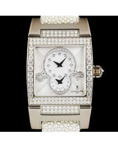 De Grisogono Unworn Instrumentino Ladies 18k White Gold Silver Guilloch  Diamond Dial B&P TINO S38 AT
