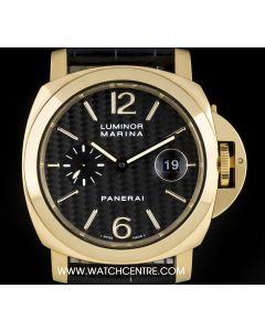 Panerai 18k Yellow Gold Carbon Fibre Dial Luminor Marina B&P PAM00140