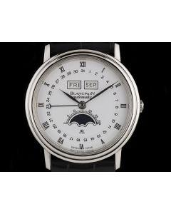 Blancpain Platinum White Dial Full Calendar Moonphase Villeret 6553-1127A-55
