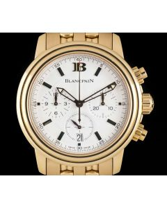 Blancpain Leman Chronograph Gents 18k Rose Gold White Dial B&P 2185