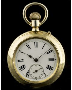 Vintage Men's Silver Gilt White Porcelaine Dial Double Sided Chronograph Pocket Watch