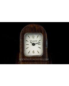 Van Cleef & Arpels Wooden Silver Dial Vintage Domino Travel Clock