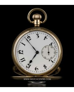 Dennison Case 9k Yellow Gold Half Hunter Porcelain Dial Pocket Watch