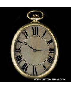 Paul Ditisheim Open Face Pocket Watch Vintage Gents 18k Yellow Gold Silver Dial