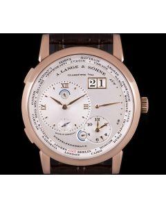 A. Lange & S hne Lange 1 Time Zone Gents 18k Rose Gold Silver Dial B&P 116.032