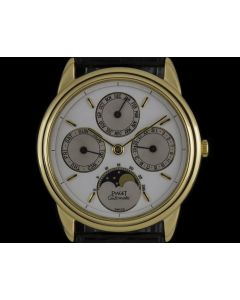 Piaget 18k Yellow Gold White Enamel Dial Full Calendar Men's 15958