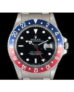 Rolex Transitional GMT-Master Vintage Men's Stainless Steel Pepsi Bezel Black Dial B&P 16750