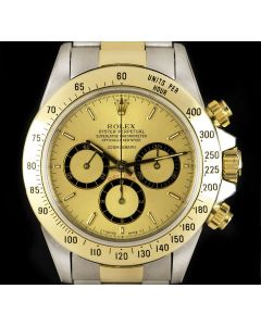 Rolex Zenith Movement Cosmograph Daytona Stainless Steel & 18k Yellow Gold Rare Champagne Mark I Floating Dial B&P 16523