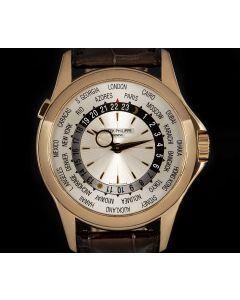 Patek Philippe World Time Men's 18k Rose Gold Silver Sunburst Dial 5130R