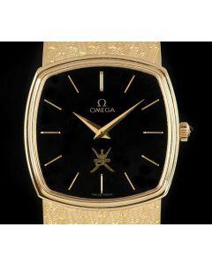 Omega Unworn Vintage Gents NOS 18k Yellow Gold Black Omani Dial