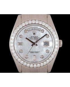 Rolex Day-Date Masterpiece Men's Platinum Mother of Pearl Dial Diamond Set 18946