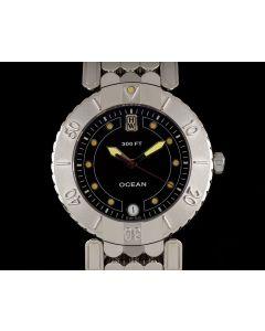 Harry Winston Platinum Black Dial Ocean Date Gents Wristwatch B&P MADV36PP.K