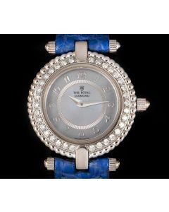 The Royal Diamond Women's Dress Watch 18k White Gold Blue Mother of Pearl Dial Diamond Bezel BA 112
