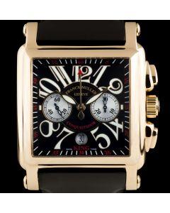 Franck Muller Conquistador Cortez King Gents 18k Rose Gold Black Guilloche Dial B&P 10000 K CC