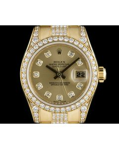 Rolex Datejust Yellow Gold Diamond Set Woman's Wristwatch 179158