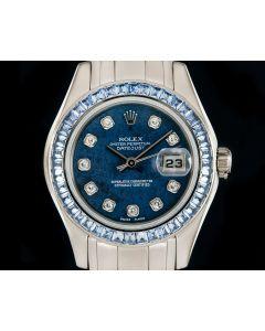 Rolex Pearlmaster Datejust Women's 18k White Gold Sodalite Diamond Dial Sapphire Set Bezel 80309