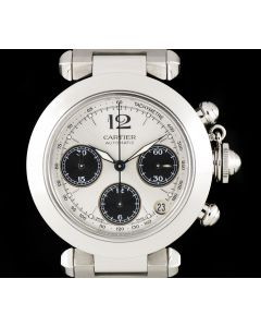 Cartier Stainless Steel Silver Dial Pasha Chronograph Men's W31048M7