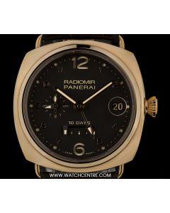 Panerai 18k Rose Gold Unworn Radiomir 10 Days GMT Oro Rosso B&P PAM00497