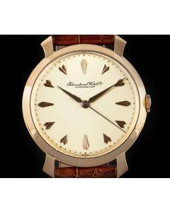 IWC Vintage Men's Wristwatch 18k Rose Gold Silver Dagger Dial