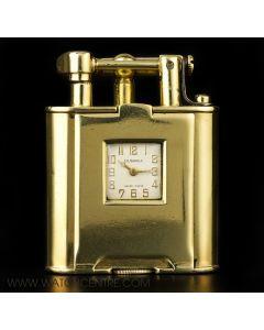 Dunhill Rare 18k Yellow Gold Art Deco Swing Arm Pocket Watch LighterC1930s