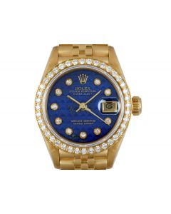 Rolex Datejust Women's 18k Yellow Gold Rare Lapis Lazuli Pyramid Dial Diamond Set B&P 69138