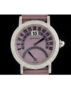 Gerald Genta Retrograde Jump Hour Ladies Stainless Steel Pink Guilloche Dial G3734 87212