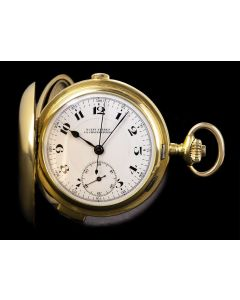 Rueff Freres Full Hunter Minute Repeater Pocket Watch Vintage Gents 18k Yellow Gold White Enamel Dial