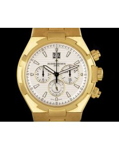 Vacheron Unworn Constantin Overseas Chronograph NOS Gents 18k Yellow Gold Silver Dial 49150/B01J-9215