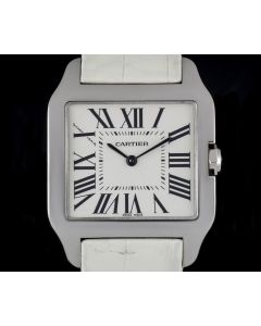 Cartier 18k White Gold Silver Roman Dial Santos Dumont Mid-Size B&P W2009451