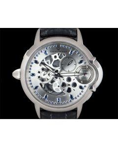 Vincent Berard Limited Edition Balancier Mysterieux Left-Handed Gents 18k White Gold Grey Skeleton Sapphire Dial LUV 4S