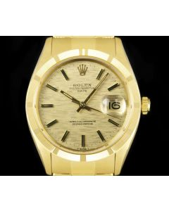 Rolex Date Vintage Men's 18k Yellow Gold Champagne Mosaic Dial B&P 1501