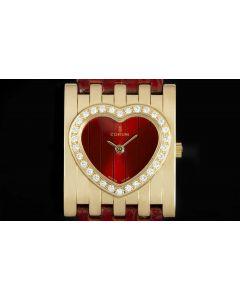 Corum Heart Shaped Diamond Set Ladies 18k Yellow Gold Red Dial 165.261.65
