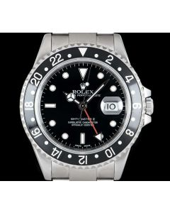 Rolex GMT-Master II Men's Stainless Steel Black Dial B&P 16710