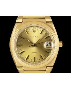 Rolex Rare Texan Beta 21 Vintage Men's 18k Yellow Gold Champagne Dial B&P 5100