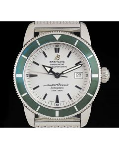 Breitling Super Ocean Heritage Stainless Steel Silver Dial Green Bezel B&P A1732136/G717