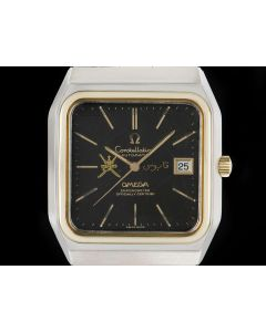 Omega Constellation XL Vintage Omani Crest Gents Stainless Steel & 18k Yellow Gold Black Spider Qaboos Dial 168.0062