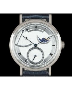 Breguet Classique Moonphase Men's 18k White Gold Silvered Guilloche Dial 7137BB/11/9V6
