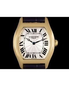 Cartier Tortue Mid-Size 18k Yellow Gold Silver Guilloche Dial